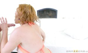 Tasty busty golden-haired Krissy Lynn has a sweet ride on a large shaft