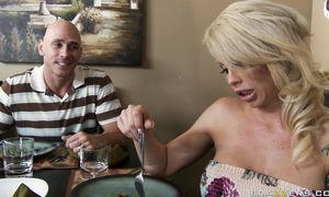 Angelic blond Brooke Haven with great tits took off her clothes and offered herself to a boy who likes her