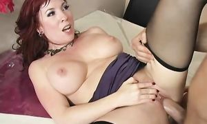 Lovable breasty redhead Brittany O'Connell gets her juice quim fucked good