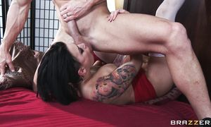 Lusty bosomed Eva Angelina rides a giant lever in the kitchen
