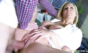 Agreeable Julia Ann with round tits eagerly swallows a long pole