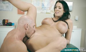 Spicy bombshell Reagan Foxx with huge tits gets banged terrifically and achieves large o