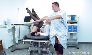 Succulent blond Brooke Brand enjoys testing her narrow little cookie