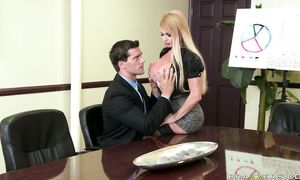 Pungent golden-haired Taylor Wane with large tits was sucking large lever as deep as she could take it