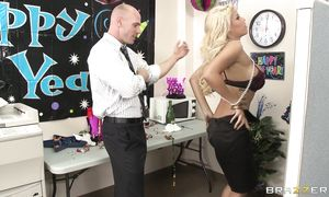 Sugary latin blond playgirl Bridgette B with impressive tits is dancing for mate and getting ready to fuck him until he cums