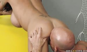 Mouthwatering big titted Angelina Valentine is showing her pro blowjob skills
