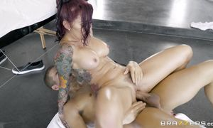 Stupefying redhead lady Monique Alexander and stud are doing it and enjoying it a lot