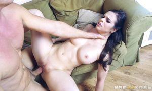 Aroused latin brown-haired perfection Nekane Sweet with big natural tits is getting fucked in her love tunnel by buddy