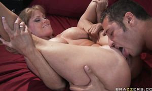 Salacious redhead girlie Darla Crane with massive tits and dude are mad to fuck each other like insane
