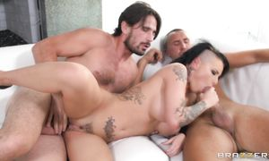 Foxy cutie Christy Mack with massive tits shows her astonishing packing monster sucking skills