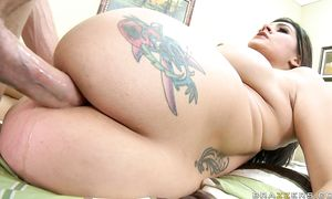 Striking brown-haired Raylene with curvy natural billibongs is ready for some very interesting ramming