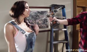 Lewd busty brown-haired Lylith Lavey receives a huge facial after the hot act