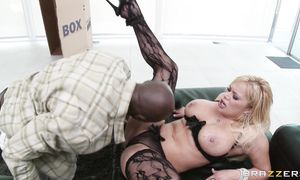 Prurient busty blonde Shyla Stylez rides a hung fuckmate until they both get to large o