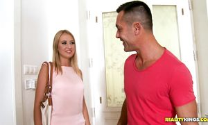 Glorious Milana Blanc rides the prick then get a facial