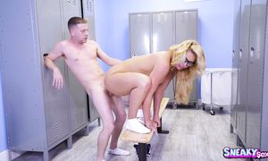 Inviting blond Phoenix Marie enjoys riding a rock hard and hard dangler