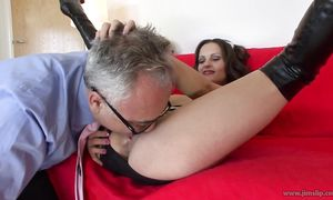 Sinful busty dark-haired girl Valentina Cruz bangs with large dicked lover