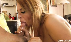 Wonderful golden-haired playgirl Tamara with huge tits enjoys impaling her skinny vagina on the hard python
