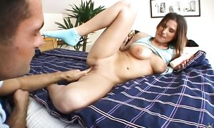 Spicy girl Myra Lyon with great tits bow over for a long boner