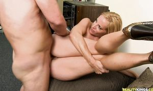 Prurient busty blonde slut Katrina Kelley gets her fishnet covered wazoo drilled without mercy