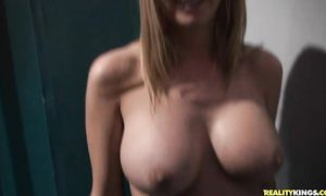 Curvaceous blond floosy Blake Rose with great tits is enjoying while lad is fucking her from the back