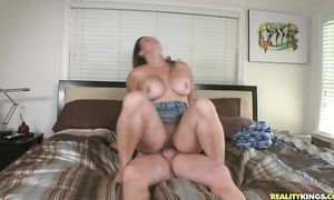 Classy breasty lady Zoey Oneill rides hard love rocket with all her might
