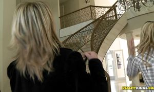 Engaging blond Jessie Fontana with massive tits reaches a top and her cuchy is wet