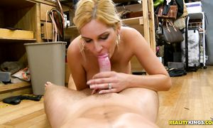 Wonderful latina blond Ana Marie with large tits eagerly impales her love tunnel on a hard dinky